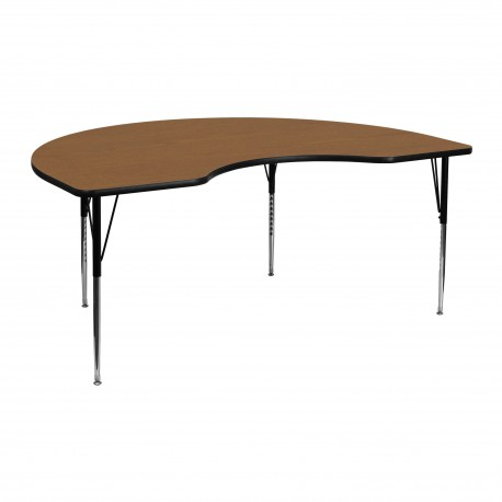48''W x 72''L Kidney Shaped Activity Table with Oak Thermal Fused Laminate Top and Standard Height Adjustable Legs