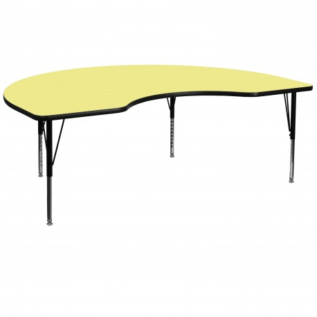 48''W x 72''L Kidney Shaped Activity Table with Yellow Thermal Fused Laminate Top and Height Adjustable Pre-School Legs