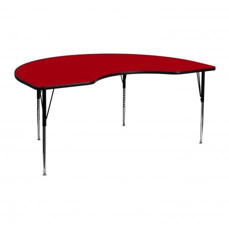 48''W x 72''L Kidney Shaped Activity Table with Red Thermal Fused Laminate Top and Standard Height Adjustable Legs