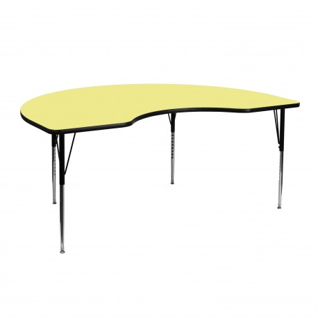 48''W x 72''L Kidney Shaped Activity Table with Yellow Thermal Fused Laminate Top and Standard Height Adjustable Legs