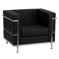Pristine Collection Contemporary Black Leather Chair with Encasing Frame