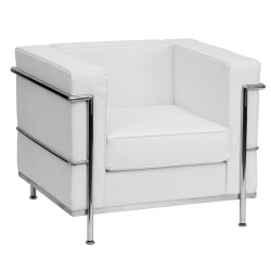 Pristine Collection Contemporary White Leather Chair with Encasing Frame