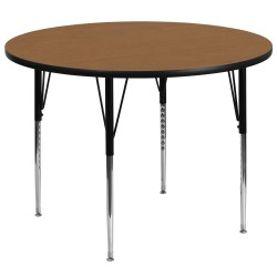 60'' Round Activity Table with Oak Thermal Fused Laminate Top and Standard Height Adjustable Legs