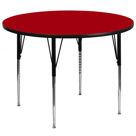 60'' Round Activity Table with Red Thermal Fused Laminate Top and Standard Height Adjustable Legs