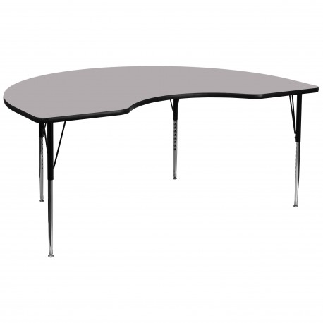 48''W x 96''L Kidney Shaped Activity Table with Grey Thermal Fused Laminate Top and Standard Height Adjustable Legs