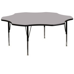 60'' Flower Shaped Activity Table with Grey Thermal Fused Laminate Top and Height Adjustable Pre-School Legs