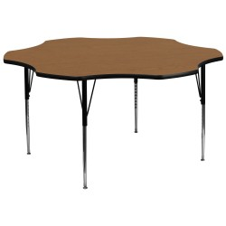60'' Flower Shaped Activity Table with Oak Thermal Fused Laminate Top and Standard Height Adjustable Legs