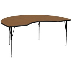 48''W x 96''L Kidney Shaped Activity Table with Oak Thermal Fused Laminate Top and Standard Height Adjustable Legs