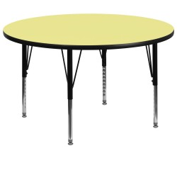 60'' Round Activity Table with Yellow Thermal Fused Laminate Top and Height Adjustable Pre-School Legs