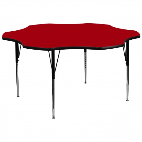 60'' Flower Shaped Activity Table with Red Thermal Fused Laminate Top and Standard Height Adjustable Legs