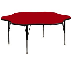 60'' Flower Shaped Activity Table with Red Thermal Fused Laminate Top and Height Adjustable Pre-School Legs
