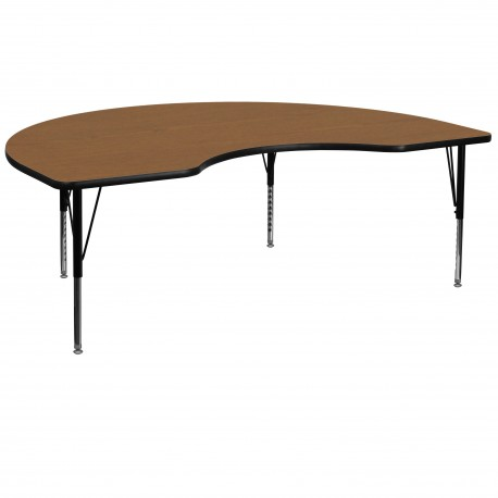 48''W x 96''L Kidney Shaped Activity Table with Oak Thermal Fused Laminate Top and Height Adjustable Pre-School Legs