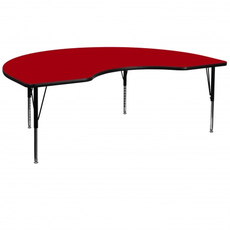 48''W x 96''L Kidney Shaped Activity Table with Red Thermal Fused Laminate Top and Height Adjustable Pre-School Legs