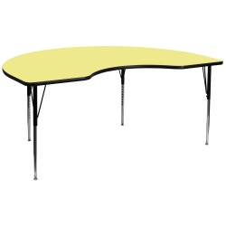 48''W x 96''L Kidney Shaped Activity Table with Yellow Thermal Fused Laminate Top and Standard Height Adjustable Legs