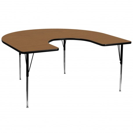60''W x 66''L Horseshoe Activity Table with Oak Thermal Fused Laminate Top and Standard Height Adjustable Legs