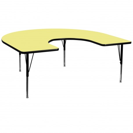 60''W x 66''L Horseshoe Activity Table with Yellow Thermal Fused Laminate Top and Height Adjustable Pre-School Legs