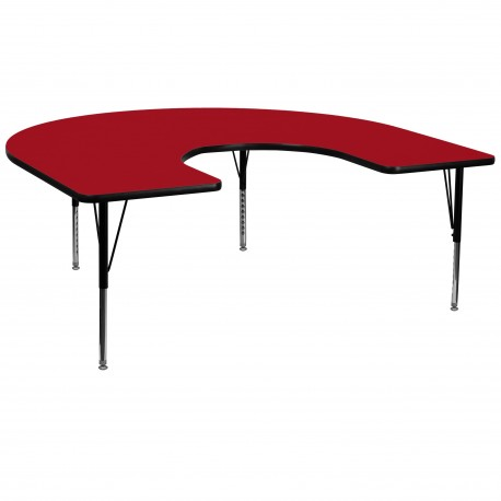 60''W x 66''L Horseshoe Activity Table with Red Thermal Fused Laminate Top and Height Adjustable Pre-School Legs