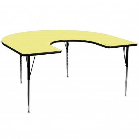 60''W x 66''L Horseshoe Activity Table with Yellow Thermal Fused Laminate Top and Standard Height Adjustable Legs