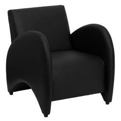 Recurve Collection Black Leather Reception Chair