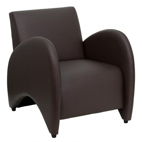 Recurve Collection Brown Leather Reception Chair