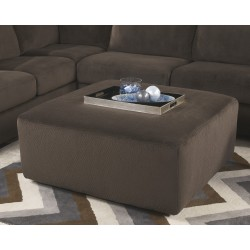 Vanessa Oversized Ottoman in Chocolate Fabric