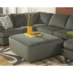 Vanessa Oversized Ottoman in Pewter Fabric