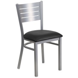 Silver Slat Back Metal Restaurant Chair - Black Vinyl Seat