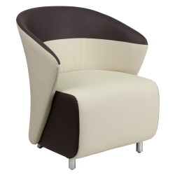 Beige Leather Reception Chair with Dark Brown Detailing