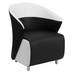 Black Leather Reception Chair with White Detailing