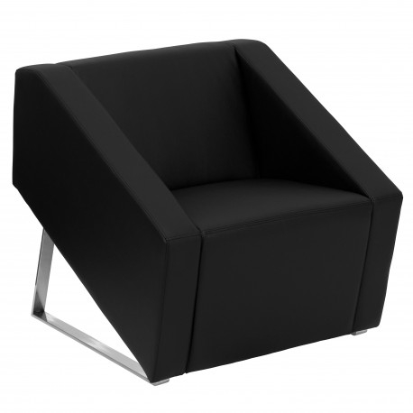 Wonder Collection Black Leather Reception Chair