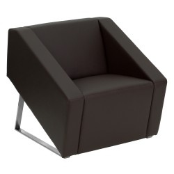 Wonder Collection Brown Leather Reception Chair