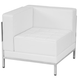 Immaculate Collection Contemporary White Leather Left Corner Chair with Encasing Frame