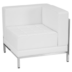 Immaculate Collection Contemporary White Leather Right Corner Chair with Encasing Frame
