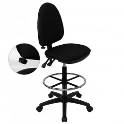 Mid-Back Black Fabric Multi-Functional Drafting Stool with Adjustable Lumbar Support