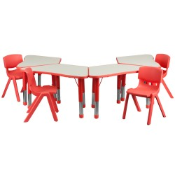 Red Trapezoid Plastic Activity Table Configuration with 4 School Stack Chairs