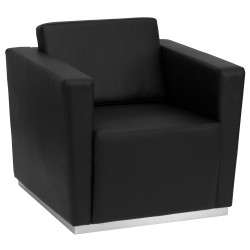 Debonair Collection Contemporary Black Leather Chair with Stainless Steel Base