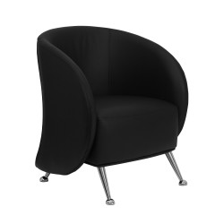 Flight Collection Black Leather Reception Chair