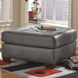 Glamour Oversized Accent Ottoman in Gray DuraBlend