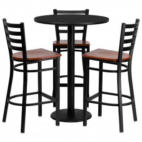 30 Round Black Laminate Table Set With 3 Ladder Back Metal Bar