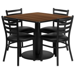36'' Square Walnut Laminate Table Set with 4 Ladder Back Metal Chairs - Black Vinyl Seat