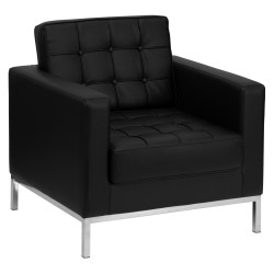 Chimera Collection Contemporary Black Leather Chair with Stainless Steel Frame
