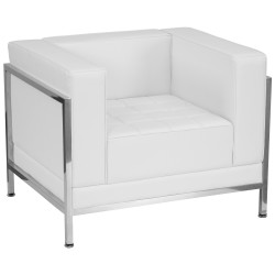 Immaculate Collection Contemporary White Leather Chair with Encasing Frame