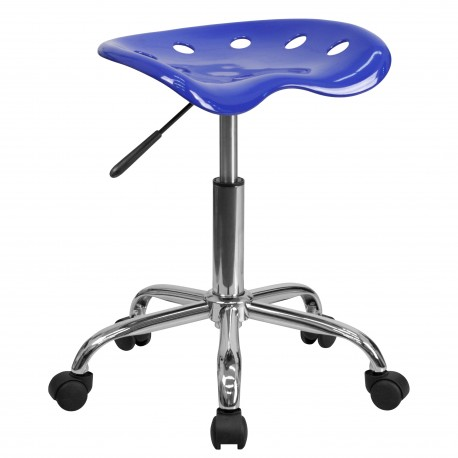 Vibrant Nautical Blue Tractor Seat and Chrome Stool
