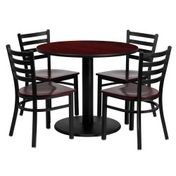 36'' Round Mahogany Laminate Table Set with 4 Ladder Back Metal Chairs - Mahogany Wood Seat