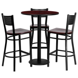 30'' Round Mahogany Laminate Table Set with 3 Grid Back Metal Bar Stools - Mahogany Wood Seat