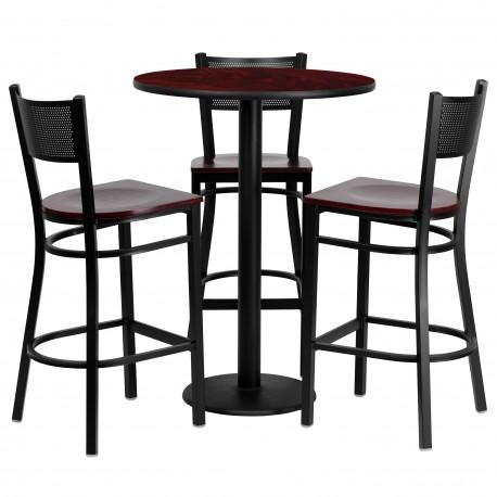 30 Round Mahogany Laminate Table Set With 3 Grid Back Metal Bar