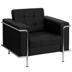 Sophia Collection Contemporary Black Leather Chair with Encasing Frame