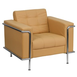 Sophia Collection Contemporary Light Brown Leather Chair with Encasing Frame