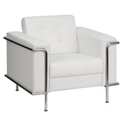 Sophia Collection Contemporary White Leather Chair with Encasing Frame
