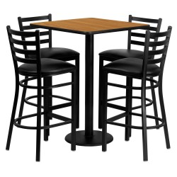 30'' Square Natural Laminate Table Set with 4 Ladder Back Metal Bar Stools - Black Vinyl Seat